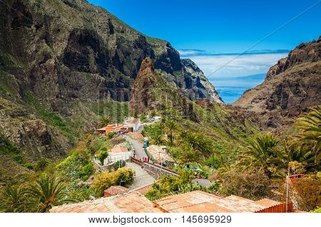 beautiful view of the Masca village and valley with palms and mountains Tenerife Spain