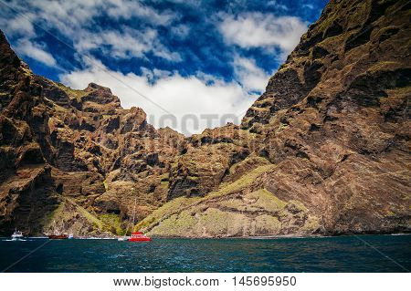ocean view of Playa de Masca at the end of the popular Gorge walk Tenerife Canary islands Spain