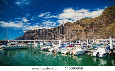 Los Gigantes marina with yachts and boats in Tenerife Spain