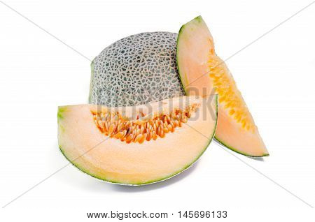 Cantaloupe Or Charentais Melon With Half And Seeds On White