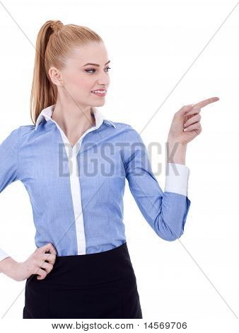 Business Woman Points Finger At Something