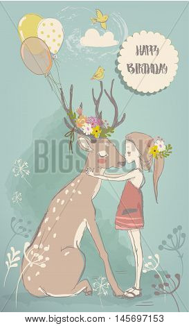 cute cartoon little girl with white hares and deer