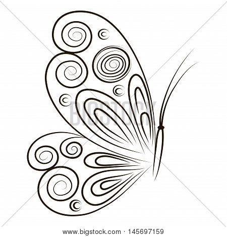 Hand Drawn vector illustration Butterfly isolated on white background. Sketch for tattoo. Black contour for coloring. Hand drawn ornamental butterfly outline illustration with decorative ornaments