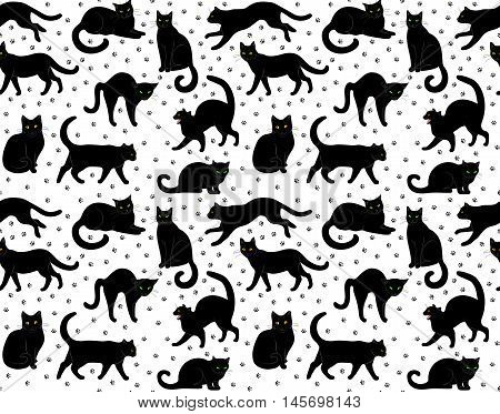 Seamless pattern with black cats on white background