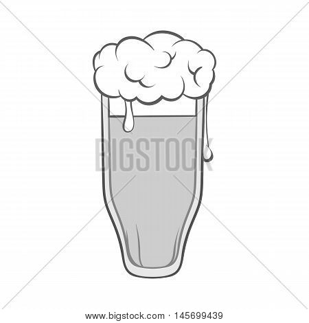 Tall glass of beer icon in black monochrome style isolated on white background. Drink symbol. Vector illustration