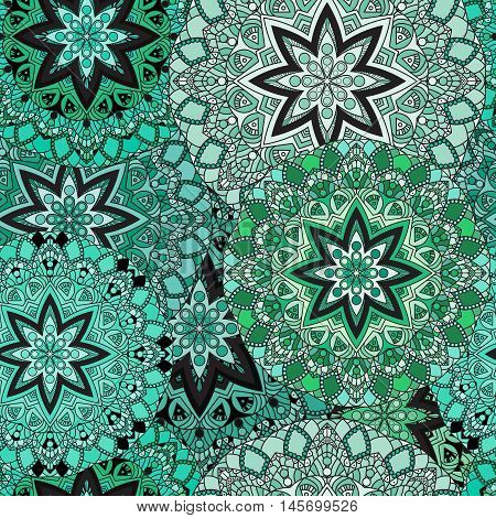 Green seamless design in oriental style. Stellar mandalas background for card, front-side, cover or wrapping paper. Indian, arabic, chinese, turkish lace print