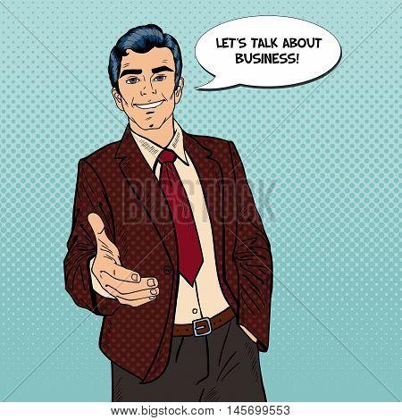 Successful Businessman Handshake. Business Partnership. Pop Art Vector illustration