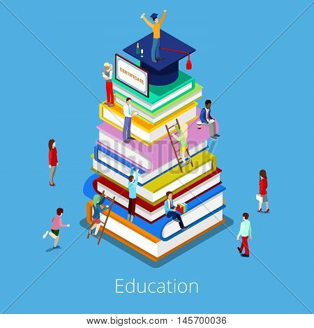 Isometric Education Graduation Concept with Stack of Books and Students. Vector illustration