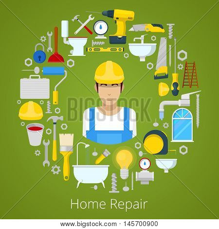 Home House Repair with Professional Worker and Repairs Tools. Vector illustration
