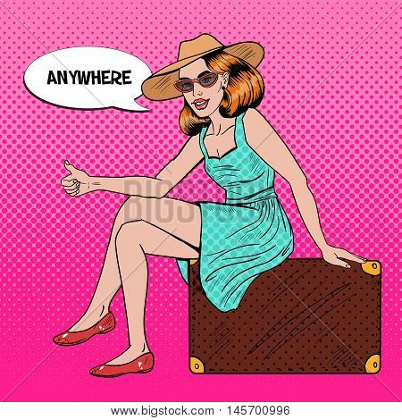 Pretty Young Pop Art Woman Traveler Hitchhiking Sitting on Suitcase. Vector illustration