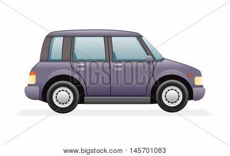 Retro Family Minivan Car Icon Isolated Realistic Design Vector Illustration