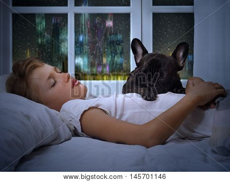 The young girl the teenager and a dog sleeping in the bed. Sound sleep night rain outside the window