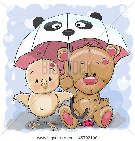 Cute Cartoon Bear and Chicken with umbrella