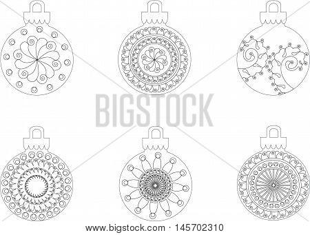 Black and white hand drawn Christmas balls, anti stress, vector illustration