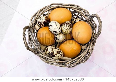 Plate With Quail Eggs And Chicken Eggs. Quail Eggs In A Wooden Bowl. Place For Text. Nutrition Prote