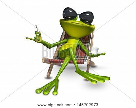 3d Illustration of a frog in a deck chair with a cup of coffee