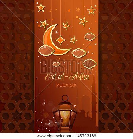 Greeting card with a moon stars mosque and arabic lamp. Islamic design for Eid al-Adha - Festival of the Sacrifice also called the 'Sacrifice Feast' or 'Bakr-Eid'