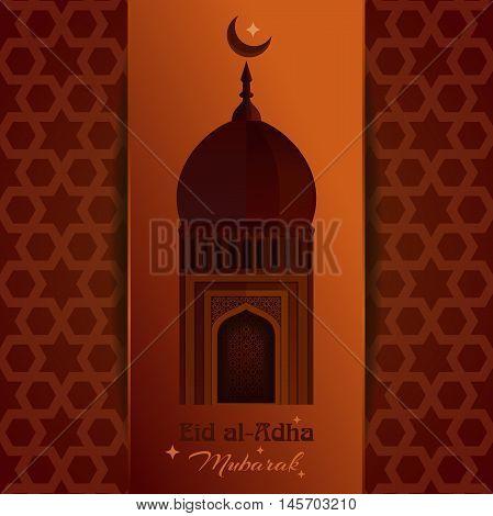 Greeting card with mosque moon star and inscription - Eid al-Adha Mubarak. Eid al-Adha - Festival of the Sacrifice. Muslim holiday