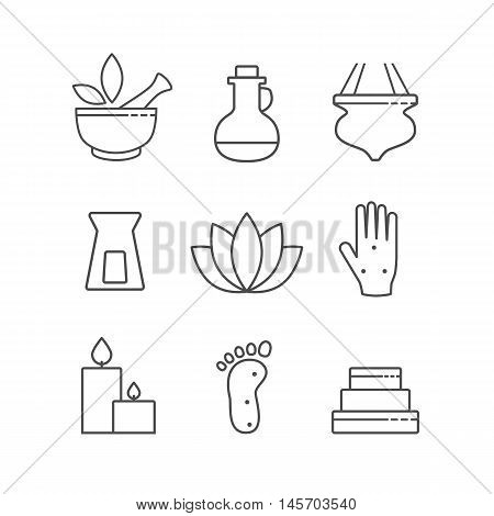 Set of linear outline alternative medicine and spa icons, vector symbols isolated on white. Ayurveda, Chinese Medicine, holistic center logo.