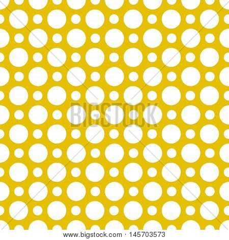Vector pattern of big and small white polka dots on gold background. Seamless polka dots pattern for background, wallpaper, print