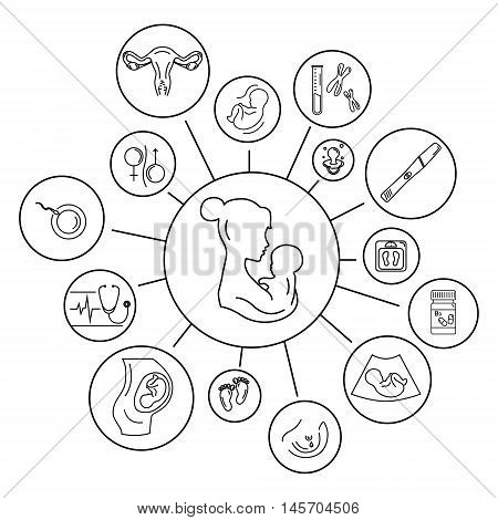 Pregnancy and birth infographics. Medicine and pregnancy. Baby care mother birth illustration.