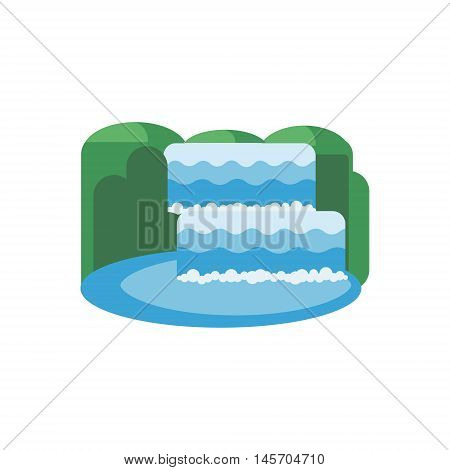 Waterfall of natural vacation abstract vector and logo design or template. Mountain waterfall and lake. Flat design icon.