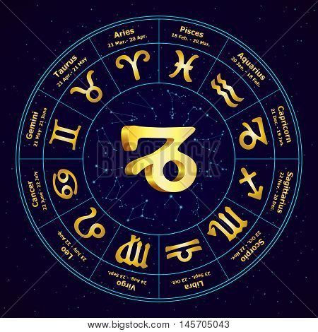 Gold Sign Of Zodiac  Capricorn In Circle