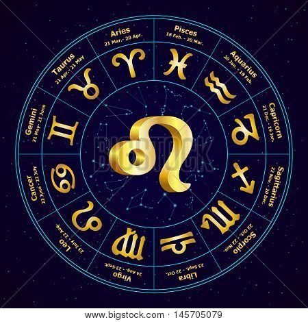 Gold Sign Of Zodiac  Leo In Circle