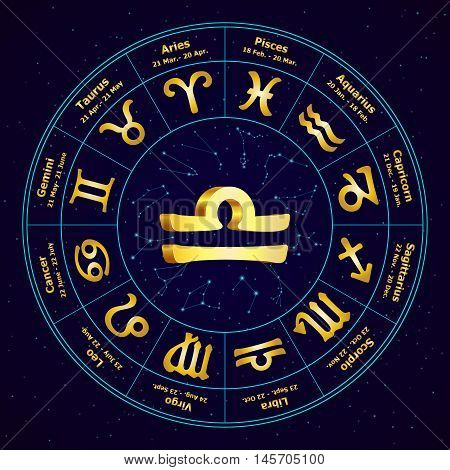 Gold Sign Of Zodiac  Libra In Circle