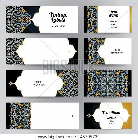 Vector Set Of Business Cards In Eastern Style.
