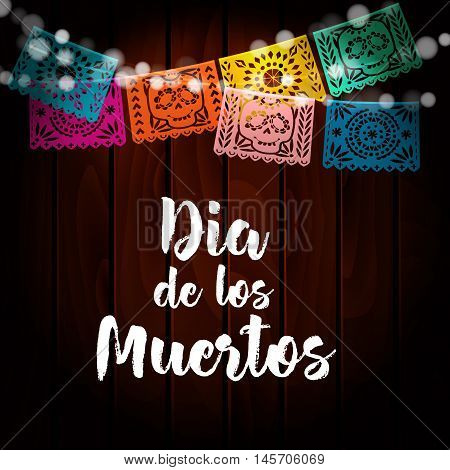 Dia de Los Muertos Mexican Day of the Dead card invitation. Party decoration string of lights handmade cut paper flags skull floral decor. Old wooden background. Vector illustration.