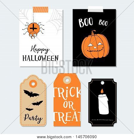 Cute Halloween party cards invitations. Paper gift tags. Pumpkin spider bat. Hand drawn vector illustration backgrounds