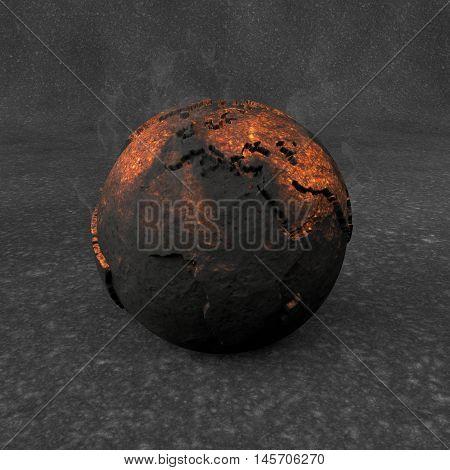 3D Illustration - Incandescent black planet earth