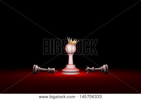 Horizontal chess composition. Available in high-resolution and several sizes to fit the needs of your project. 3D renderi illustration. Black background layout with free text space.