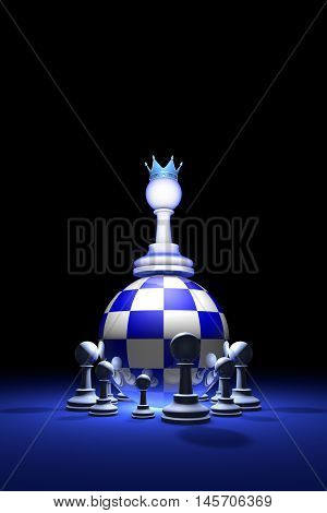 Chess composition (presidential elections). The new ruler. Available in high-resolution and several sizes to fit the needs of your project. Background layout with free text space. 3D illustration render