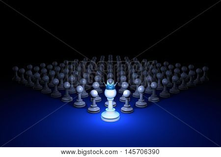 Chess composition. Standing Out from the Crowd. Available in high-resolution and several sizes to fit the needs of your project. 3D rendering illustration. Black background layout with free text space.