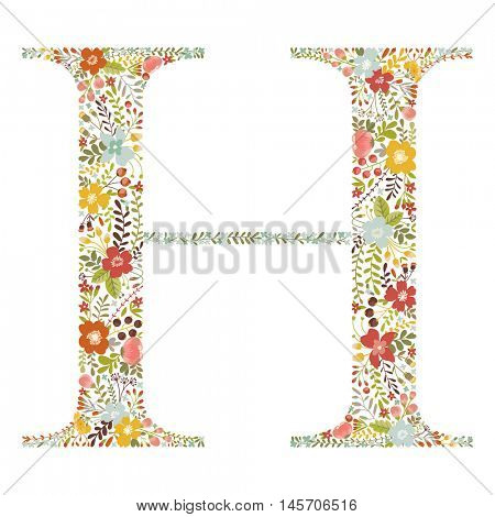 H letter with decorative floral ornament