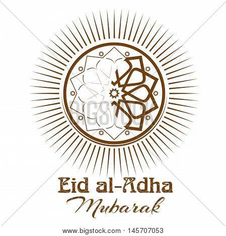 Eid al-Adha - Festival of the Sacrifice Bakr-Eid. Ornament icon and lettering - Eid al-Adha Mubarak. Illustration isolated on white background
