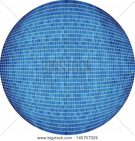 Blue Ball in mosaic - Illustration,  Azure Sphere vector,   Abstract Grunge blue Mosaic in circle