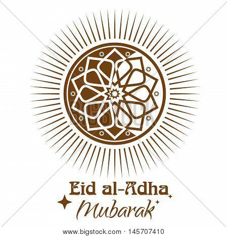 Eid al-Adha - Festival of the Sacrifice Sacrifice Feast. Islamic ornament icon and lettering - Eid al-Adha Mubarak. Illustration isolated on white background