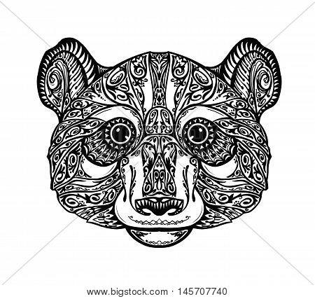 Ethnic ornamented panda, bear. Hand drawn vector illustration