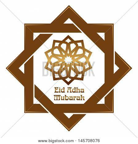 Eid al-Adha - Festival of the Sacrifice Bakr-Eid. Muslim holidays. Gold icon and lettering - Eid Adha Mubarak. Illustration isolated on white background
