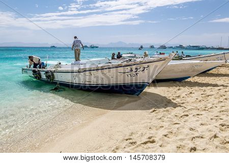 APR 13 2014. Hurghada. Views of fishing and pleasure boats on the Red sea.Egypt.