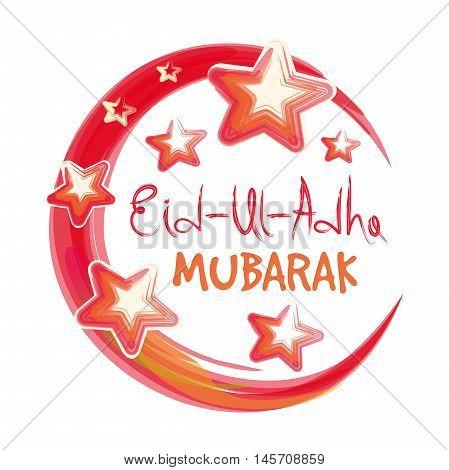 Muslim community festival of sacrifice. Eid Ul Adha. Greeting card with lettering - 'Eid-Ul-Adha Mubarak'. Festival of the Sacrifice