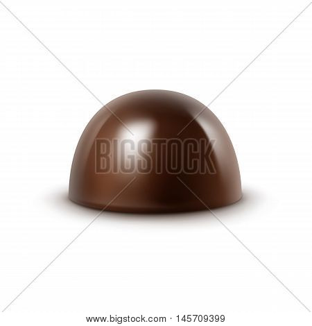 Vector Realistic Dark Black Bitter Chocolate Candy Isolated on White Background