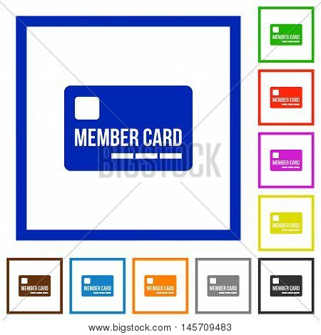 Set of color square framed member card flat icons