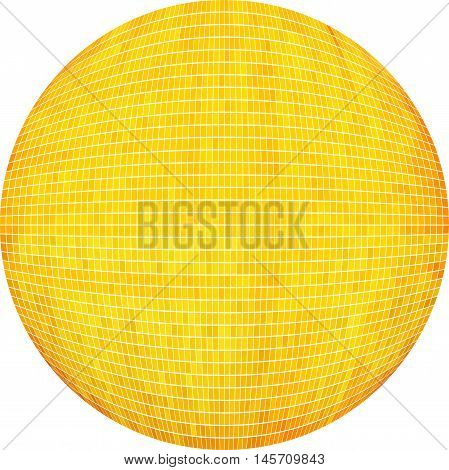 Yellow Ball in mosaic - Illustration,  Yellow Sphere vector,   Abstract Grunge yellow Mosaic in circle
