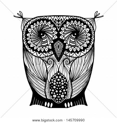 Vector hand drawn Owl. Black and white zentangle art. Ethnic patterned illustration for antistress coloring book, tattoo, poster, print, t-shirt.