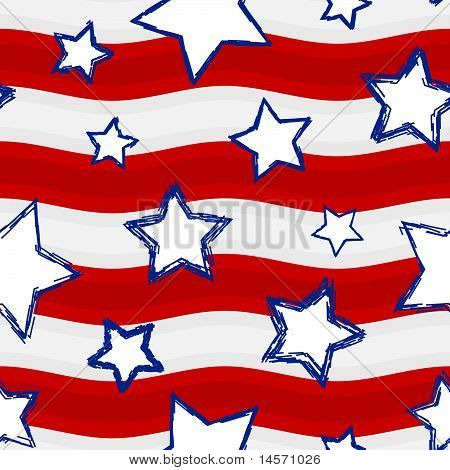 Fourth of July Stars and Stripes Seamless Background
