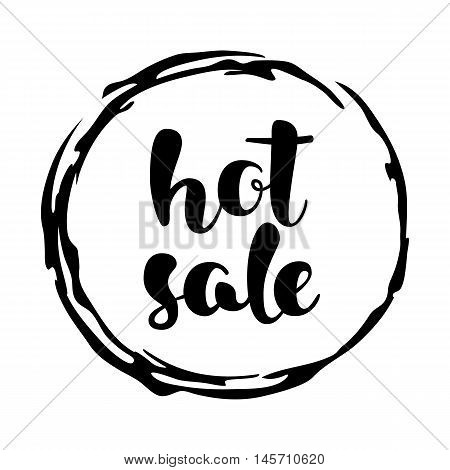 Modern SALE sticker. Round label in black and white. Hand written lettering. The word SALE on an ink blob. Calligraphy design element. Sale background. Vector illustration.